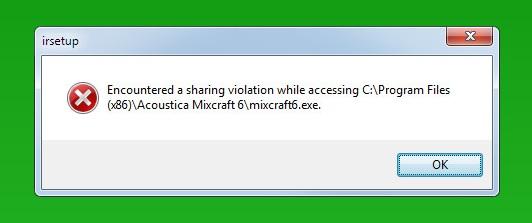 Encountered a sharing violation.