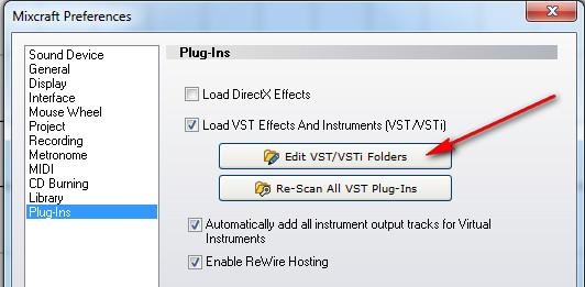 Edit VST Foldera